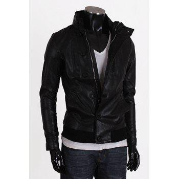 Stand Collar Rib Splicing Long Sleeves PU Leather Jacket