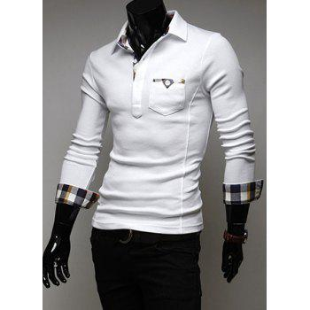 Stylish Turn-dwon Collar Plaid Splicing Long Sleeves Polo Shirt For Men - M M