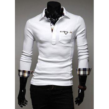 Stylish Turn-dwon Collar Plaid Splicing Long Sleeves Polo Shirt For Men