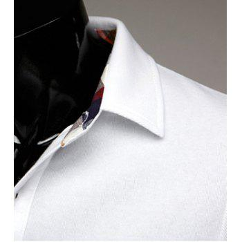 Stylish Turn-dwon Collar Plaid Splicing Long Sleeves Polo Shirt For Men - WHITE WHITE