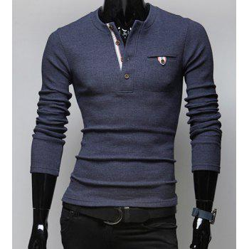 Stylish Round Neck Buttons Embellished One Pocket Long Sleeves Cotton Blend Sweater For Men