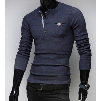 Stylish Round Neck Buttons Embellished One Pocket Long Sleeves Cotton Blend Sweater For Men - CADETBLUE M