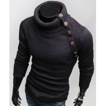 Stylish Turtleneck Multi-button Long Sleeves Wool Blend Sweater For Men - BLACK BLACK