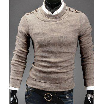 Buy Stylish Round Neck Epaulet Design Long Sleeves Wool Blend Sweater Men BEIGE