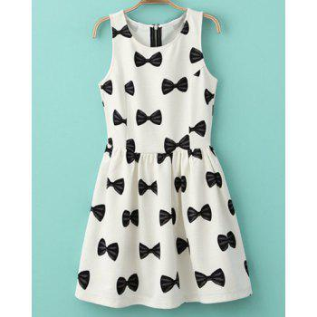 Bowknot Print Round Collar Sleeveless Pleated Sweet Style Women's Dress