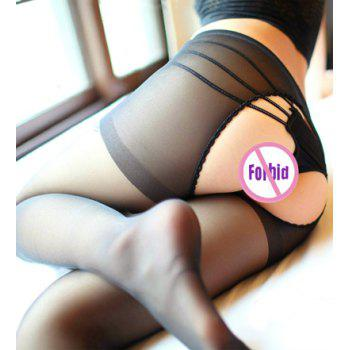 Sexy Style Cut Out Slimming See-Through Women's Pantyhose - BLACK ONE SIZE
