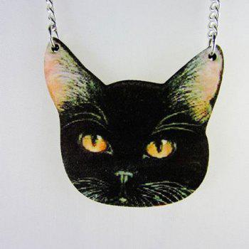 Cartoon Cat Pendant Sweater Chain - BLACK BLACK