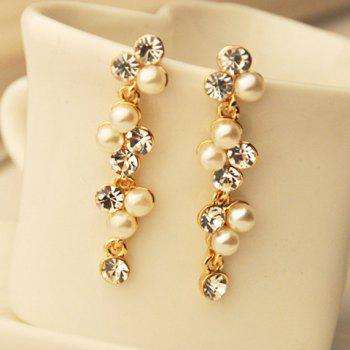 Pair of Rhinestone Faux Pearl Earrings