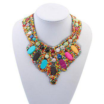 Retro Bohemia Colored Beads Detachable Collar Sweater Chain Necklace For Women