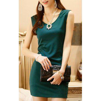 Scoop Neck Simple Design Sleeveless Solid Color Slimming Women's Dress