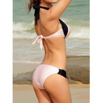 Push-Up Design Color Block Halter Casual Lace-Up Swimwear - PINK PINK