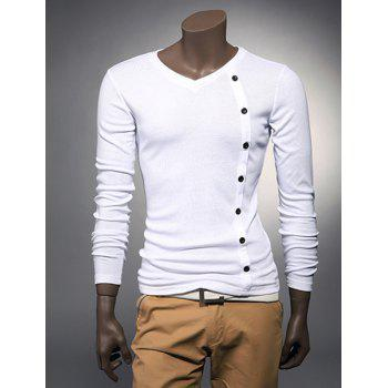 Fashion Style V-Neck Buttons Embellished  Long Sleeves Cotton Men's T-shirt