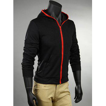 Fashion Style Hooded Zipper Black Long Sleeves Polyester Coat For Men - M M