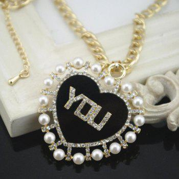 Chic Faux Pearl and Word YOU Embellished Red Heart Pendant Necklace For Women - BLACK