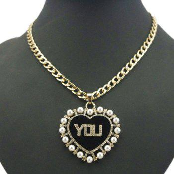 Chic Faux Pearl and Word YOU Embellished Red Heart Pendant Necklace For Women