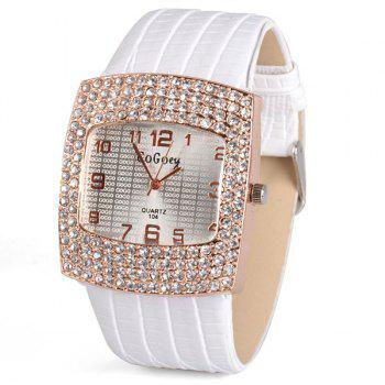 Stylish Quartz Watch with Diamonds Analog Indicate Leather Watch Band for Women