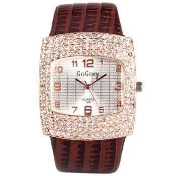 Stylish Quartz Watch with Diamonds Analog Indicate Leather Watch Band for Women - BROWN