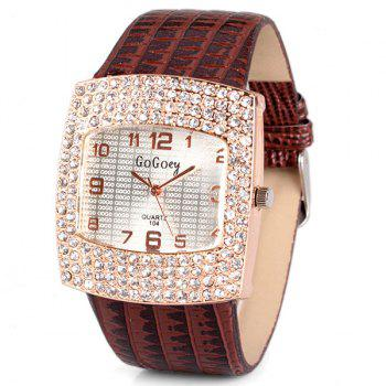 Stylish Quartz Watch with Diamonds Analog Indicate Leather Watch Band for Women - BROWN BROWN