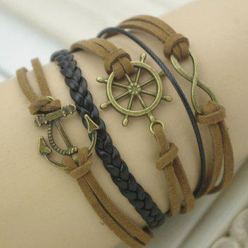 Helm Anchor Infinity Embellished Bracelet - BROWN BROWN