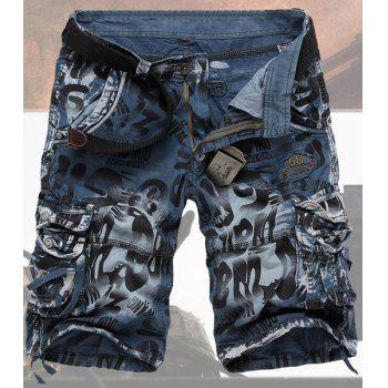 Casual Style Abstract Print Stereo Pockets Design Polyester Shorts For Men - BLUE BLUE