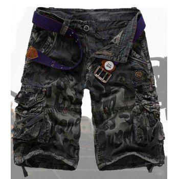 Casual Style Abstract Print Stereo Pockets Design Polyester Shorts For Men - DEEP GRAY DEEP GRAY