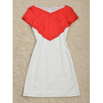 Simple Style V-Neck Short Sleeve Color Block Slimming Women's Dress