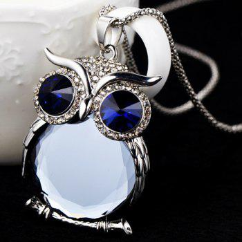 Faux Crystal Owl Pendant Sweater Chain - BLUE