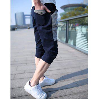 Stylish Color Block Drawstring Design Polyester Harem Shorts For Men - L L