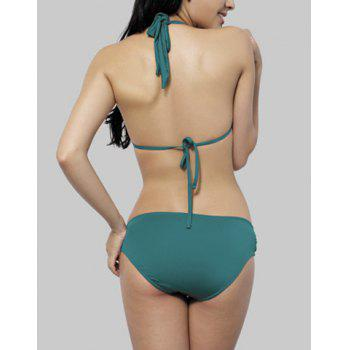 Stylish Halterneck Metal Embellished Solid Color Bikini Set For Women - GREEN GREEN