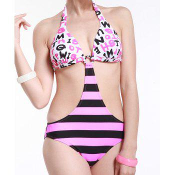 Women's Sexy Halterneck Design Letter Print Striped One-Piece Swimwear
