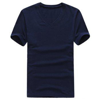 Fashion V-Neck Slimming Solid Color Short Sleeves Polyester T-shirt For Men - CADETBLUE CADETBLUE