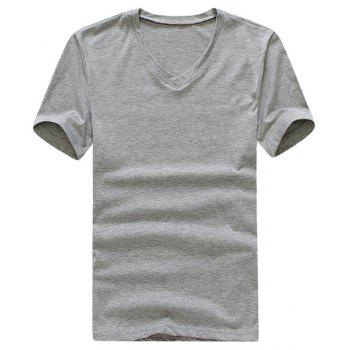 Trendy V-Neck Slimming Solid Color Short Sleeves Polyester T-shirt For Men