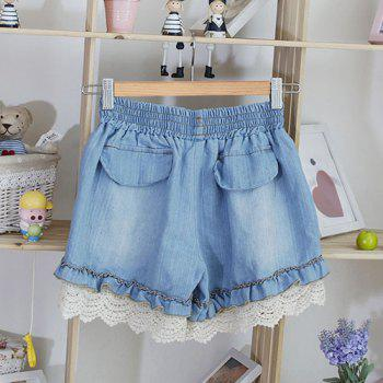 Women's Cute Stringy Selvedge Hollow Out Drawstring Denim Shorts - ONE SIZE ONE SIZE