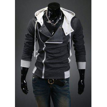 Street Style Side Zipper Long Sleeves Polyester Hoodies For Men - DEEP GRAY DEEP GRAY