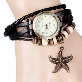 Quartz Watch with Starfish Design Round Dial and Leather Watch Band for Women