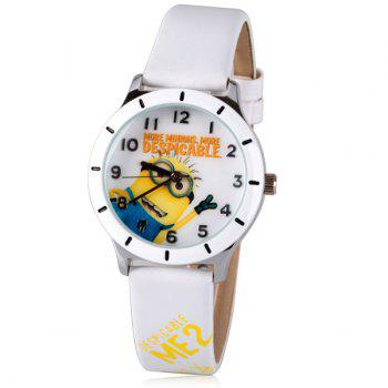 Cool Quartz Watch with Analog Indicate Bee-do Pattern Leather Watch Band for Women