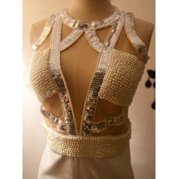 Vintage Round Neck Sequined Sleeveless Beaded Bodycon Dress For Women - WHITE ONE SIZE