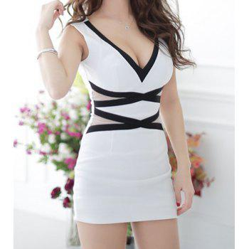 Sexy Deep V-NecK Sleeveless Color Splicing Bodycon Dress For Women - WHITE WHITE