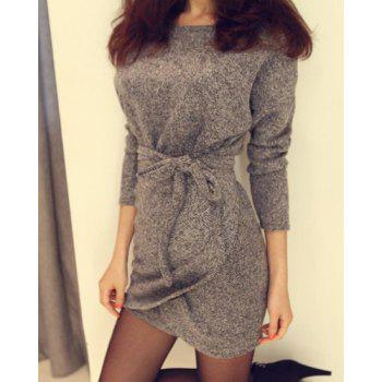 Simple Style Scoop Neck Slimming Faux Twinset Solid Color Long Sleeve Women's Dress