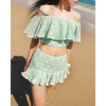 Women's Sexy Spaghetti Straps Design Off-The-Shoulder Ruffled Solid Color Beach Suit - GREEN L