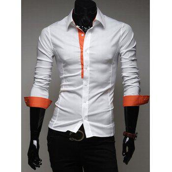 Classic Fitted Shirt Collar Chic Color Splicing Long Sleeves Polyester Shirt For Men - ORANGE ORANGE