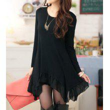 Irregular Hem Long Sleeve Scoop Neck Chiffon Splicing Packet Buttock Dress