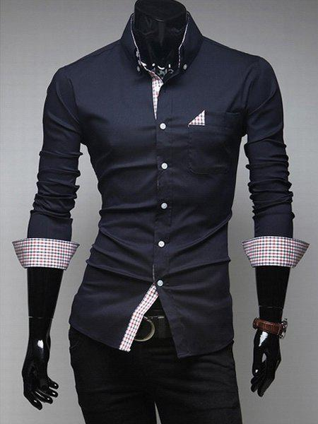 Classic Shirt Collar Plaid Splicing Long Sleeves Slimming Polyester Shirt For Men