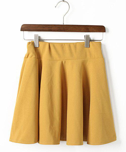 Solid Color Pleated Elastic Waist Chiffon Casual Style Women's Skirt - YELLOW ONE SIZE
