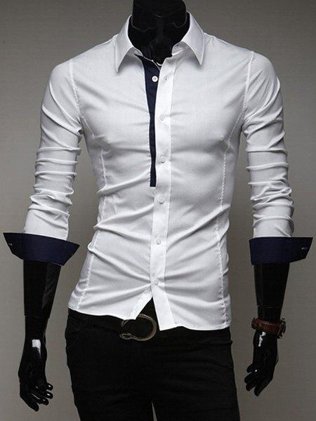 Classic Fitted Shirt Collar Chic Color Splicing Long Sleeves Polyester Shirt For Men - CADETBLUE M