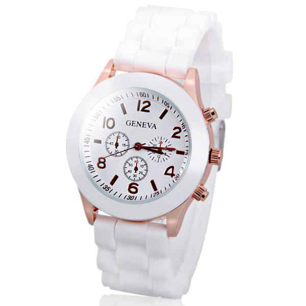 Geneva  Women Candy Color Quartz Watch with Round Dial Analog Indicate Rubber Watch Band - WHITE
