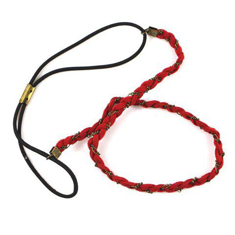 Chinese Style Red Rope Braided Long Hairband For Women - RED