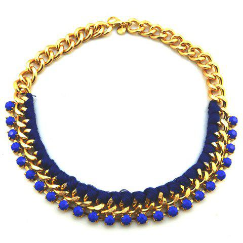 Simple Handmade Rope Braided Alloy Women's Chain Necklace - BLUE