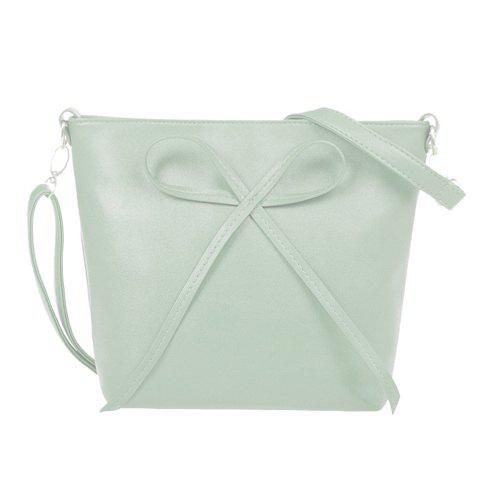 Sweet Solid Color and Bow Design Crossbody Bag For Women - LIGHT GREEN