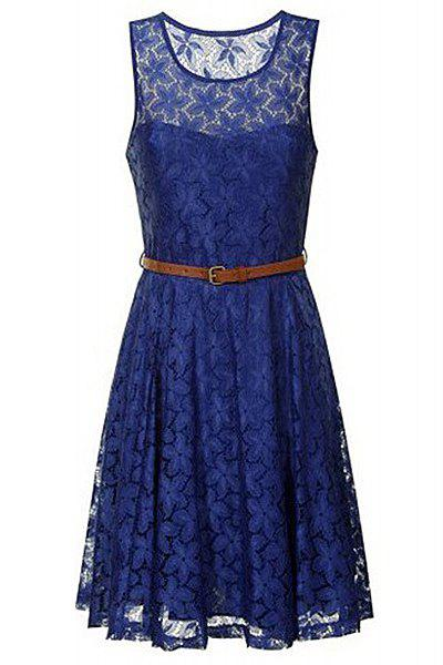 Solid Color Lace Round Collar Sleeveless Pleated Ladylike Style Women's Dress - DEEP BLUE L